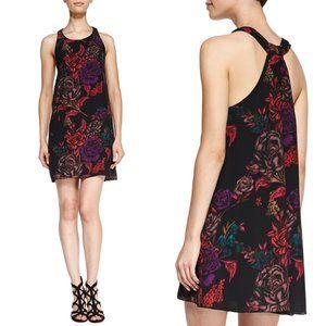 Alice + Olivia Liz Back-Twist Keyhole Floral Dress